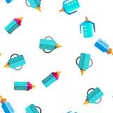 Baby Bottle, Childcare Equipment Vector Seamless Pattern. Baby Bottle, Childcare Equipment Vector Linear Icons Seamless Pattern. Baby Bottles with Latex royalty free illustration