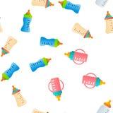 Baby Bottle, Childcare Equipment Vector Seamless Pattern. Baby Bottle, Childcare Equipment Vector Linear Icons Seamless Pattern. Baby Bottles with Latex vector illustration