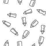Baby Bottle, Childcare Equipment Vector Seamless Pattern. Baby Bottle, Childcare Equipment Vector Linear Icons Seamless Pattern. Baby Bottles with Latex stock illustration