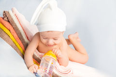 Baby and bottle Stock Photos