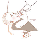 Baby bottle with dad Stock Photos