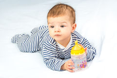 Baby and bottle Royalty Free Stock Photos