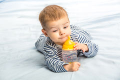 Baby and bottle Royalty Free Stock Image