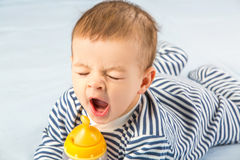 Baby and bottle Royalty Free Stock Photography