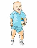 Baby with bottle in hand Royalty Free Stock Photos