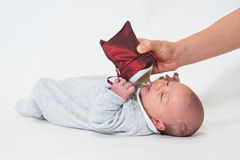 Baby bottle lying with Christmas Royalty Free Stock Image