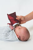 Baby bottle lying with Christmas Royalty Free Stock Photography
