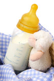 Baby bottle with milk. And soft toy stock images