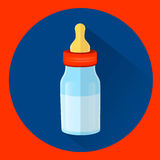 Baby bottle with milk. And pacifier vector image royalty free illustration