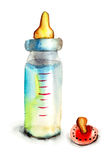 Baby bottle with milk and pacifier. Watercolor illustration vector illustration