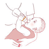 Baby bottle with mom Stock Image