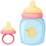 Baby bottle and pacifier Royalty Free Stock Photography