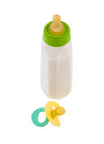 Baby bottle and pacifier Stock Photo