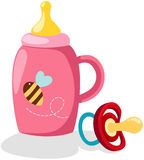 Baby bottle and pacifier Royalty Free Stock Images