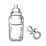 Baby bottle and pacifier sketches Royalty Free Stock Photos