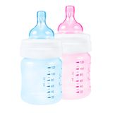Baby bottle pink and blue Royalty Free Stock Image