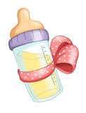 Baby bottle with pink bow. Illustration of a baby bottle with a pink bow for a female child stock illustration