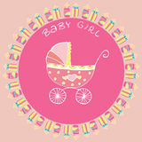 Baby bottle and pram postcard Royalty Free Stock Image