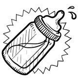 Baby bottle sketch. Doodle style baby bottle sketch with milk or formula in vector format vector illustration
