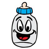 Baby bottle smiling. Cartoon illustration vector illustration