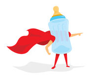 Baby bottle super hero with cape Stock Photos