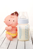 Baby bottle with toy Stock Image