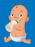 Baby with bottle Stock Image