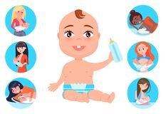 Baby with Bottle and Mothers Set Vector Illustration. Baby with bottle wearing diaper, set of circled images, breast feeding, and motherhood, woman and females Stock Images