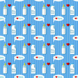Baby bottle and whole milk gallon seamless pattern Royalty Free Stock Image
