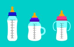 Baby bottles of milk. Flat design. Baby bottles of milk, Flat design vector illustration