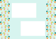 Baby bottles, template or background for infants or newborns. Yellow bottles, on rectangles, distributed so as to form a template or format for use in cards vector illustration
