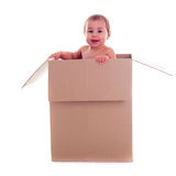 Baby and the box Royalty Free Stock Images