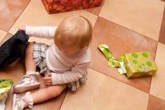 Baby on box presents Royalty Free Stock Photo
