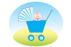 Baby boy. In blue carriage Royalty Free Stock Photo