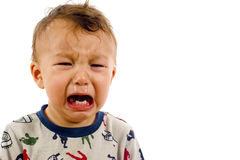 Baby Boy. Crying baby boy isolated over a white background, a lot of copyspace stock images