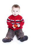 Baby boy. Is sitting on the floor isolated on white Royalty Free Stock Images
