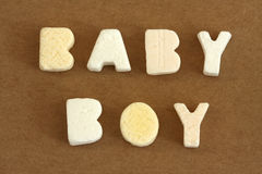 Baby Boy. Spelled in pastel colour alphabet sweets stock photo