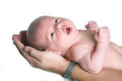 Baby boy. Father holding his newborn baby boy Royalty Free Stock Photo