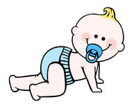 Baby boy. Baby in diaper crawling on the floor Stock Image