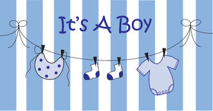 Baby Boy. Blue baby boy birth announcement Royalty Free Stock Photos