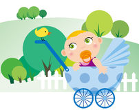 Baby boy. Illustration of Baby playing in the park Royalty Free Stock Photos