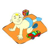 Baby boy. Cartoon image that shows a baby playing with toys. Hi-Res image that can be used in t-shirts, web-based designs and much more. Also available as Adobe vector illustration