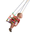 Baby-boy. Smiling boy on swing, isolated Stock Photo
