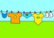Baby Boy. Cartoon illustration of baby clothes Stock Images