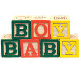 Baby Boy. The words baby boy spelled in baby blocks, isolated against a white background Royalty Free Stock Images