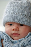 Baby Boy. In blue hat and jersey stock images