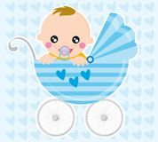 Baby boy. Illustration of baby boy and pram in the background with hearts Stock Image