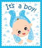 Baby boy. Illustration of baby born boy card Stock Photography