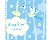 Baby boy. Arrival announcement card Royalty Free Stock Images