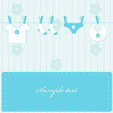 Baby boy. Announcement. Vector illustration stock illustration